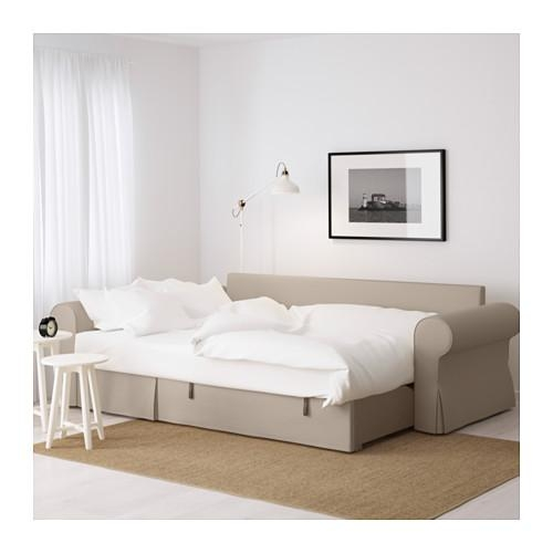 Backabro Sofa Bed With Chaise Longue Ramna Beige – Ikea Intended For Sofa Beds With Chaise Lounge (View 15 of 20)