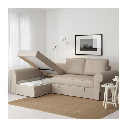 Backabro Sofa Bed With Chaise Longue Ramna Beige – Ikea Throughout Sofa Beds With Chaise Lounge (View 12 of 20)
