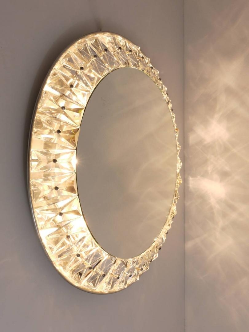 Bakalowits & Söhne: Big Round Bakalowits Backlit Wall Mirror With Inside Mirror With Crystals (Image 3 of 20)