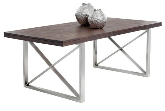 Balanced And Refined Look Dining Table With Bold Brushed Stainless Regarding Brushed Metal Dining Tables (Image 3 of 20)