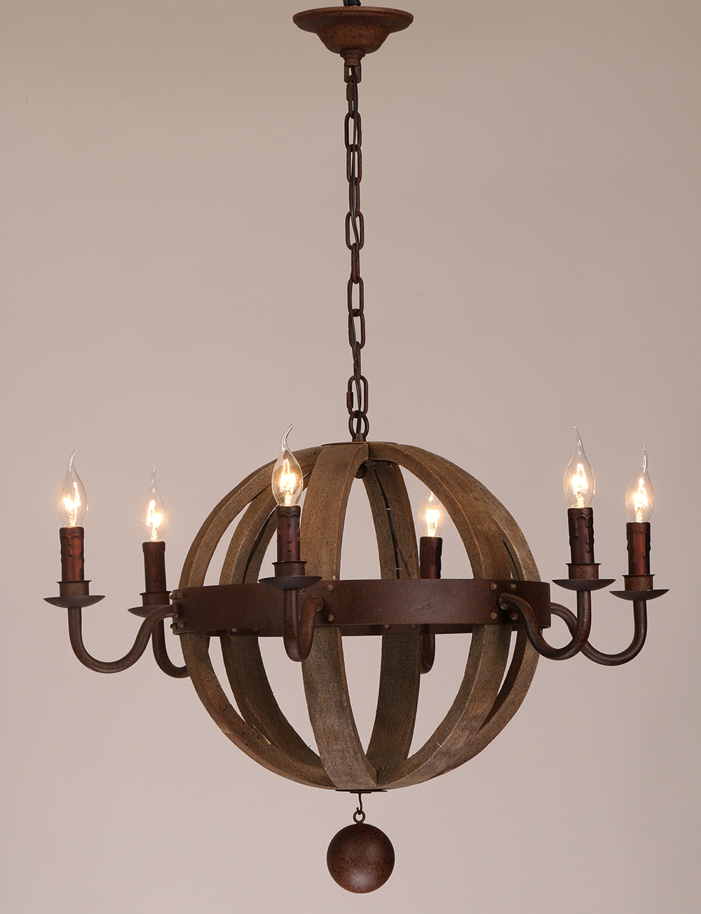 Ball Candle Chandelier With Antique Rusting Iron And Natural Oak In Metal Ball Candle Chandeliers (Image 2 of 25)