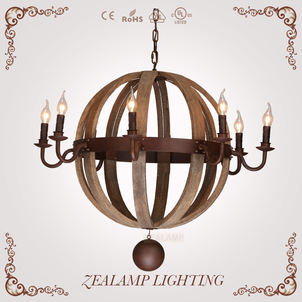 Ball Candle Chandelier With Antique Rusting Iron And Natural Oak Pertaining To Metal Ball Candle Chandeliers (Image 3 of 25)