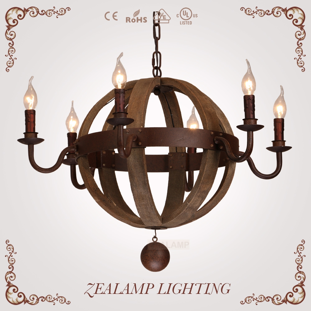Ball Candle Chandelier With Antique Rusting Iron And Natural Oak With Metal Ball Candle Chandeliers (Image 4 of 25)