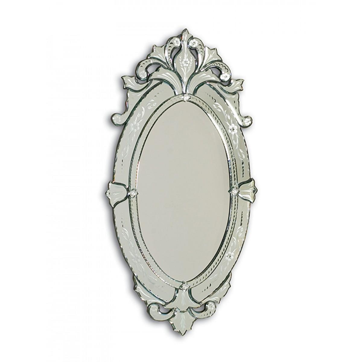 Barge Hand Cut And Etched Oval Venetian Glass Mirror Frame Within Bevelled Oval Mirror (Image 1 of 20)