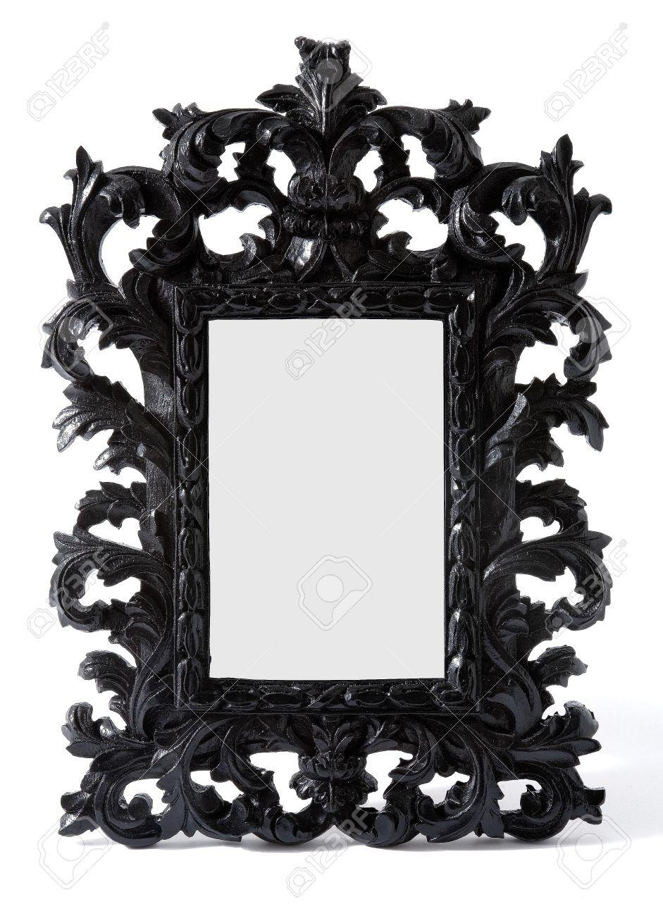 Baroque Black Painted Carved Wood Mirror Frame Isolated On White Regarding Baroque Black Mirror (Image 3 of 20)