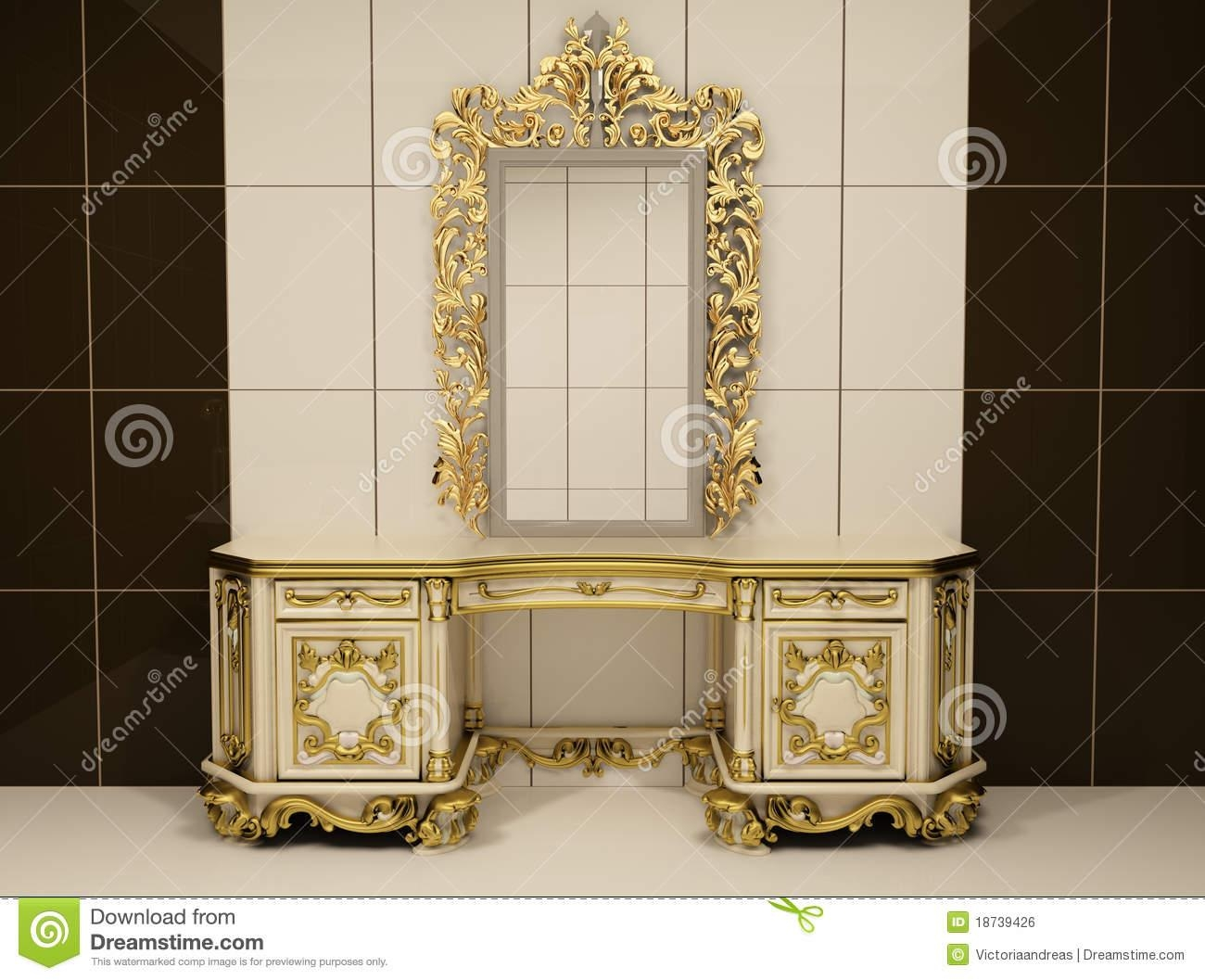 Baroque Gold Mirror With Royal Chest Royalty Free Stock Image Pertaining To Baroque Floor Mirror (Image 6 of 20)