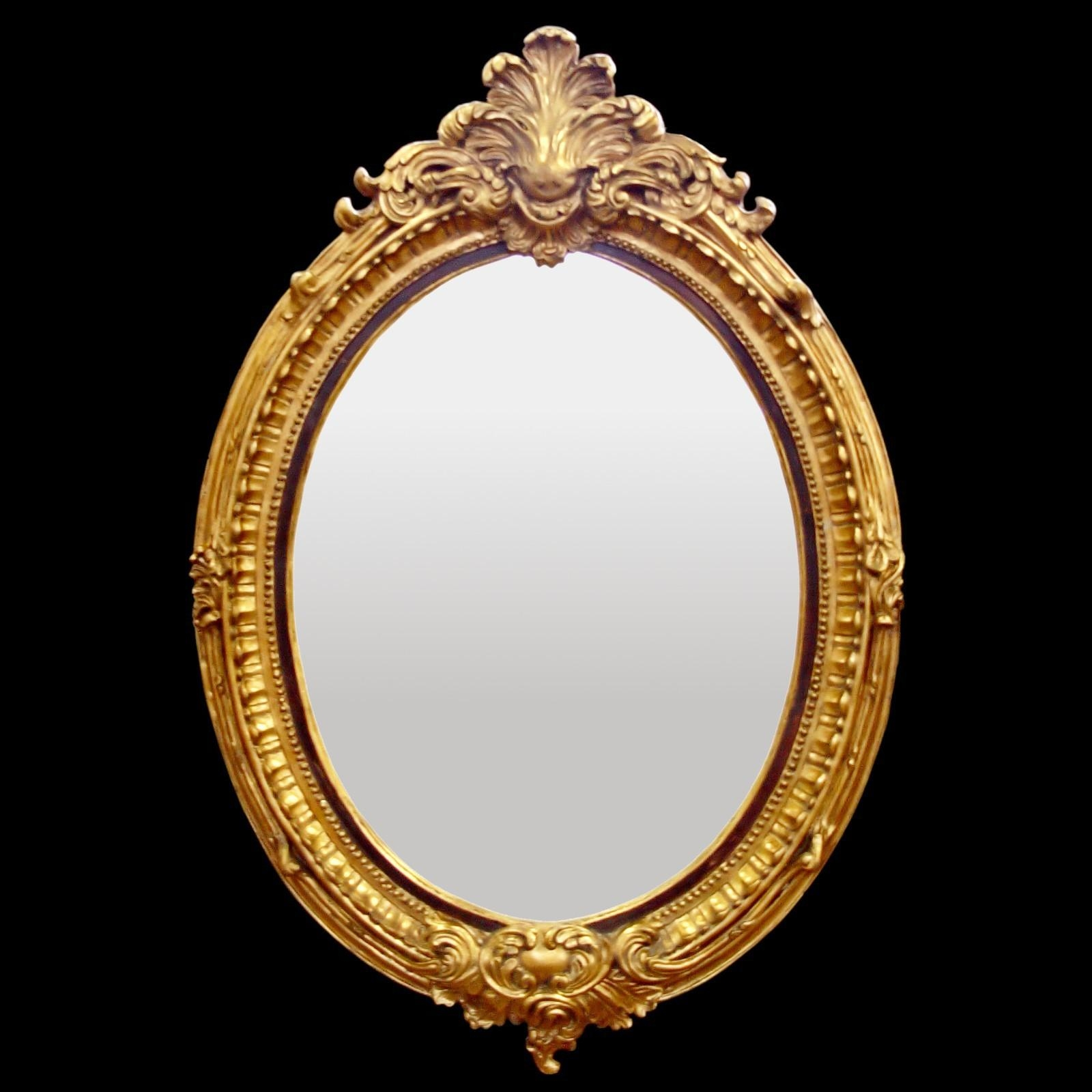 Baroque Hall Mirror Oval Wall Mirror Gold Color Red Leaf Motif Intended For Baroque Mirror Gold (Image 7 of 20)