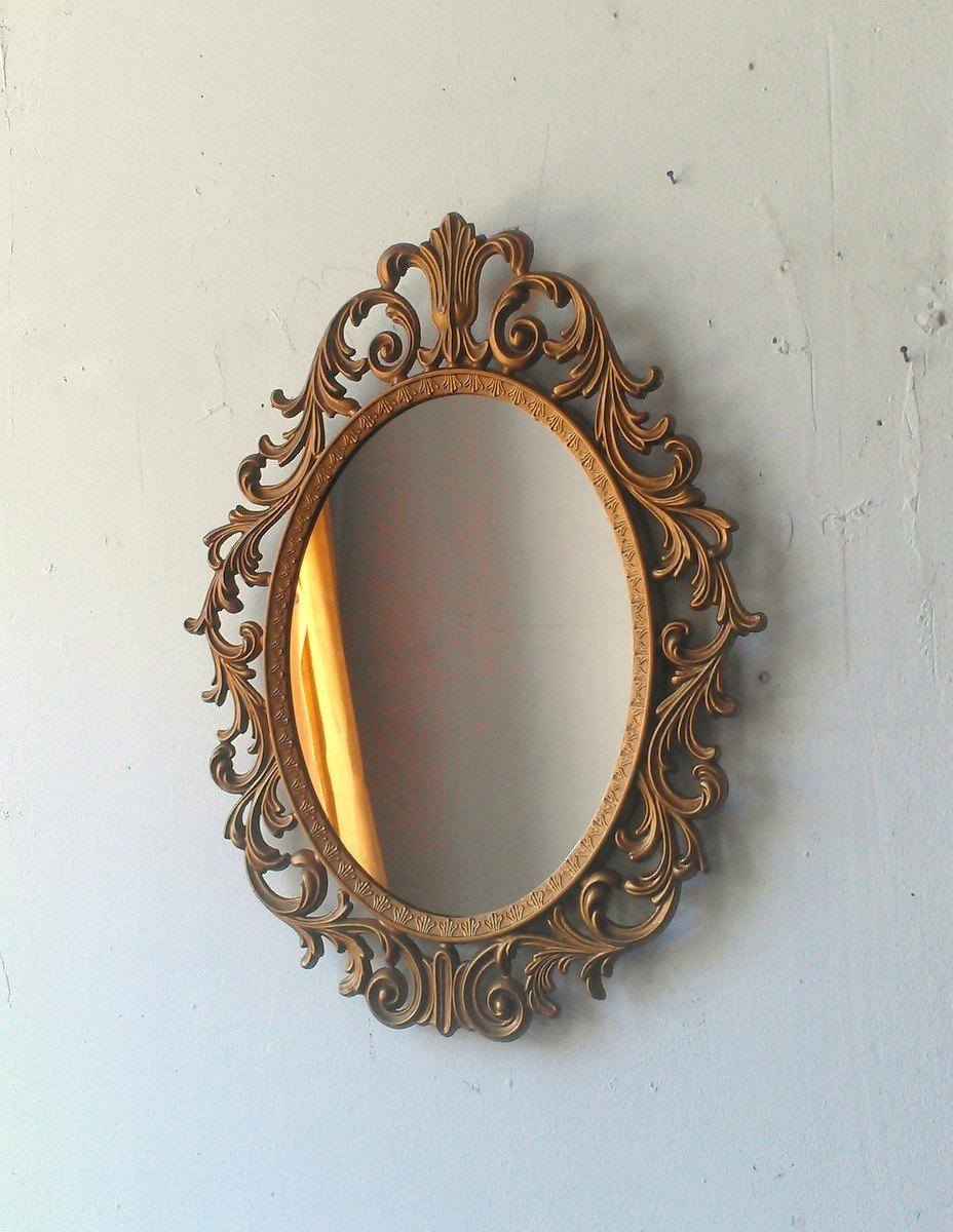 Baroque Mirror In Deep Gold Vintage Oval Frame Vintage Ornate Intended For Gold Baroque Mirror (Image 9 of 20)