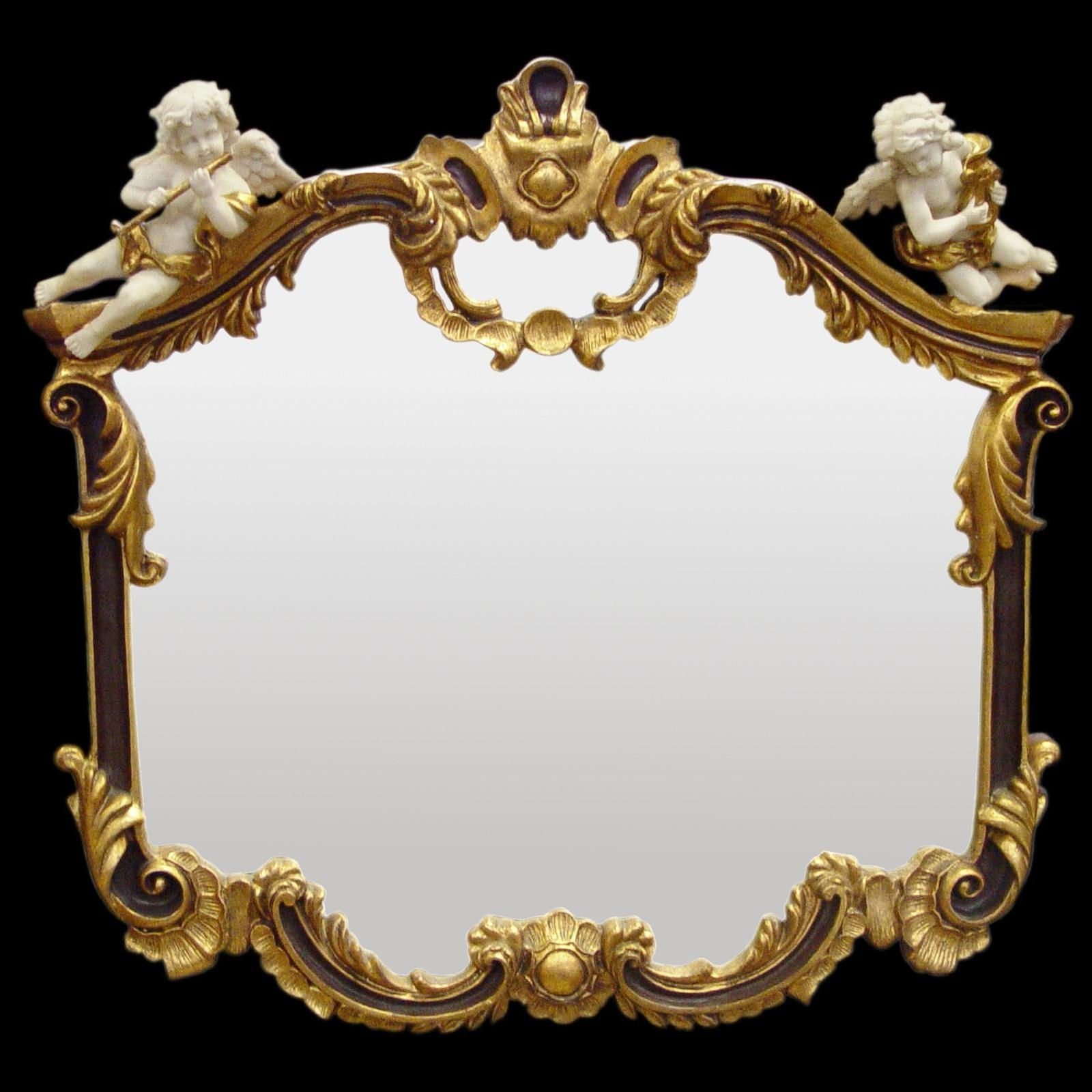 Baroque Mirror Wall Mirror Gold Red 2 White Music Angel Figurines For Baroque Mirror Gold (Image 10 of 20)