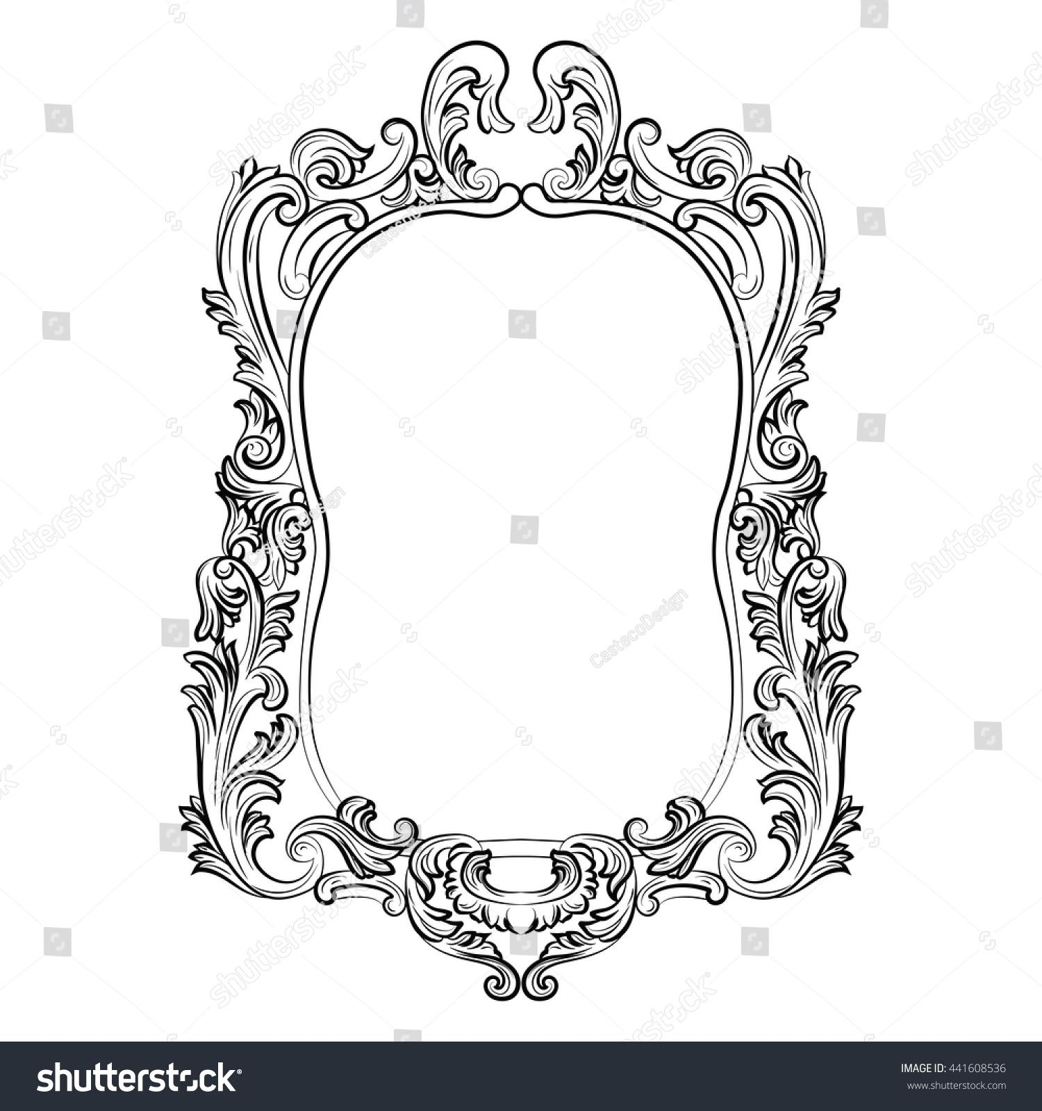 Baroque Rococo Mirror Frame Decor Vector Stock Vector 441608536 Regarding White Rococo Mirror (Image 7 of 20)