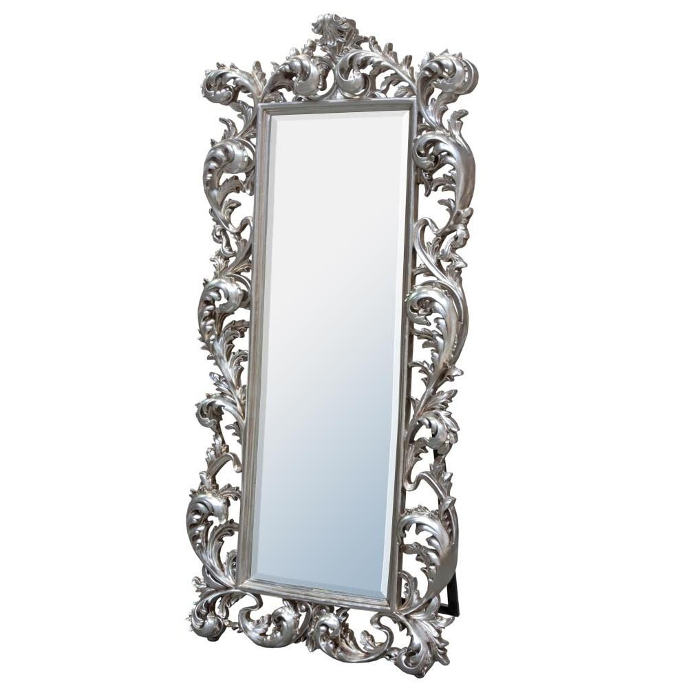 Baroque Silver Free Standing Mirror – Mirrors, Furniture, Lighting Intended For Silver Free Standing Mirror (Image 1 of 20)