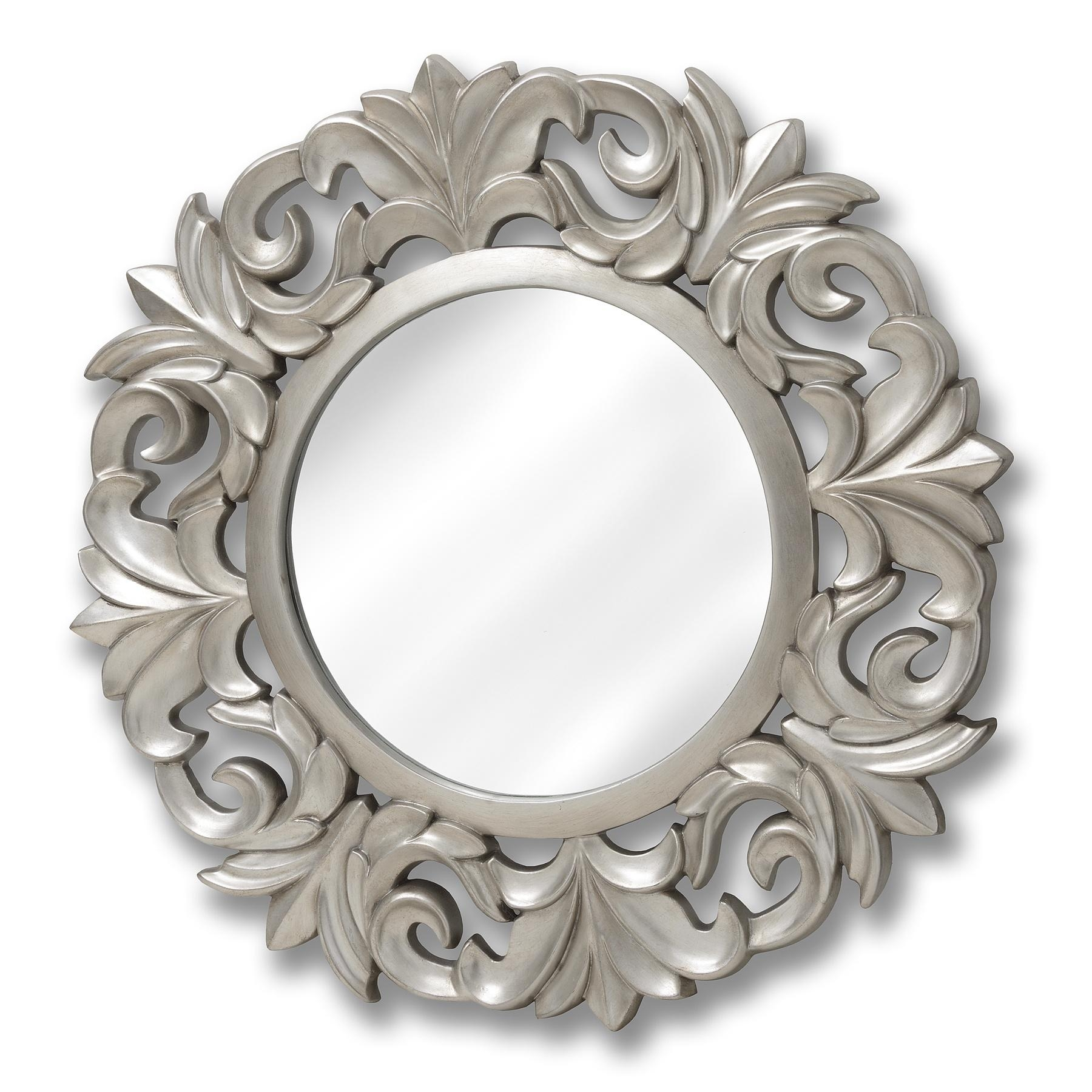 Baroque Style Round Silver Mirror | Happy Home Interiors With Regard To Baroque Mirror Silver (Image 4 of 20)