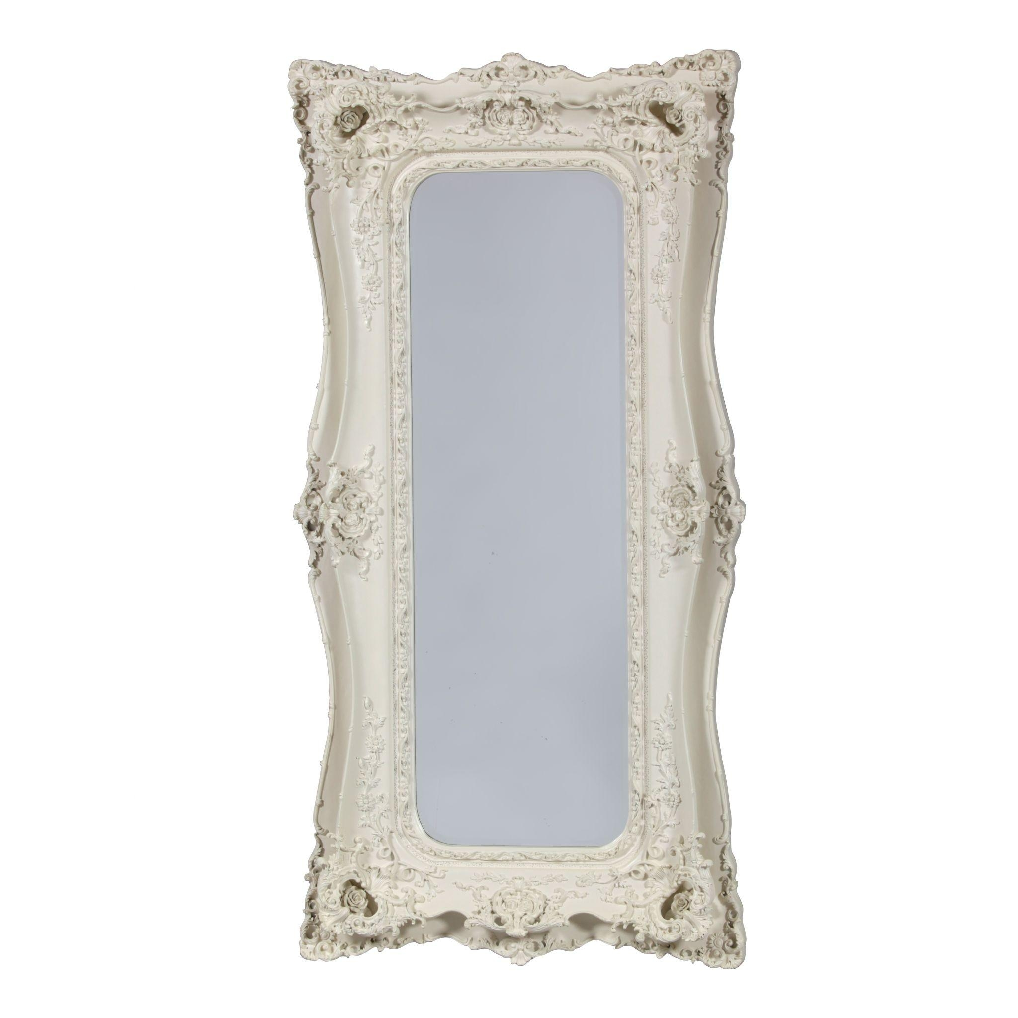 Baroque Tall Antique White French Mirror Within White French Mirror (Image 2 of 20)