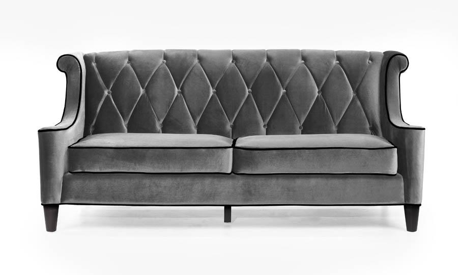 Barrister Sofa (Gray Velvet With Black Piping) – [Lc8443Gray With Barrister Velvet Sofas (Image 14 of 20)
