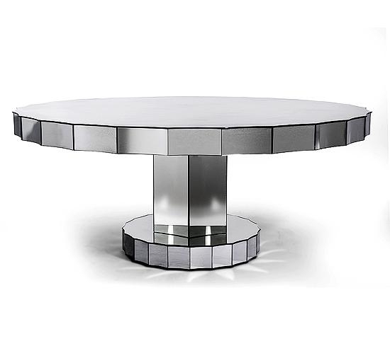 Bassett Mirror Grenadine Round Glass Dining Table Antiqued Mirror Regarding Mirror Glass Dining Tables (View 11 of 20)