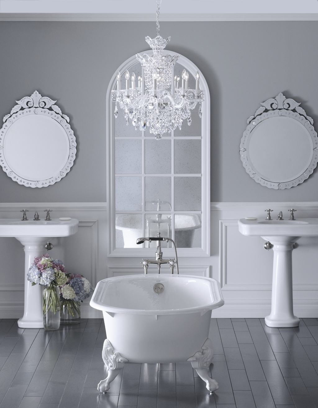 Bathroom 21 Sensational Bathroom Chandelier Ideas For Your Inside Free Standing Chandelier Lamps (Image 2 of 25)