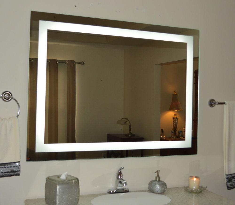 Bathroom: Bathroom Lighted Mirrors | Large Magnifying Mirror With Large Illuminated Mirror (Image 9 of 20)