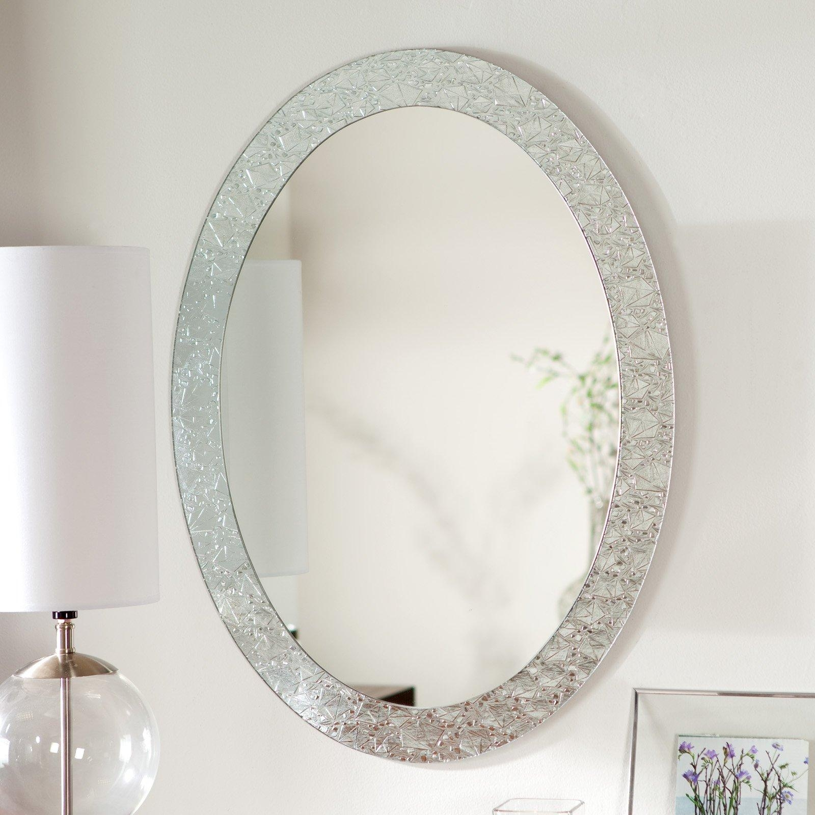 Bathroom: Brushed Nickel Wall Mirror | Oval Mirrors For Bathroom Throughout Silver Oval Wall Mirror (Image 3 of 20)