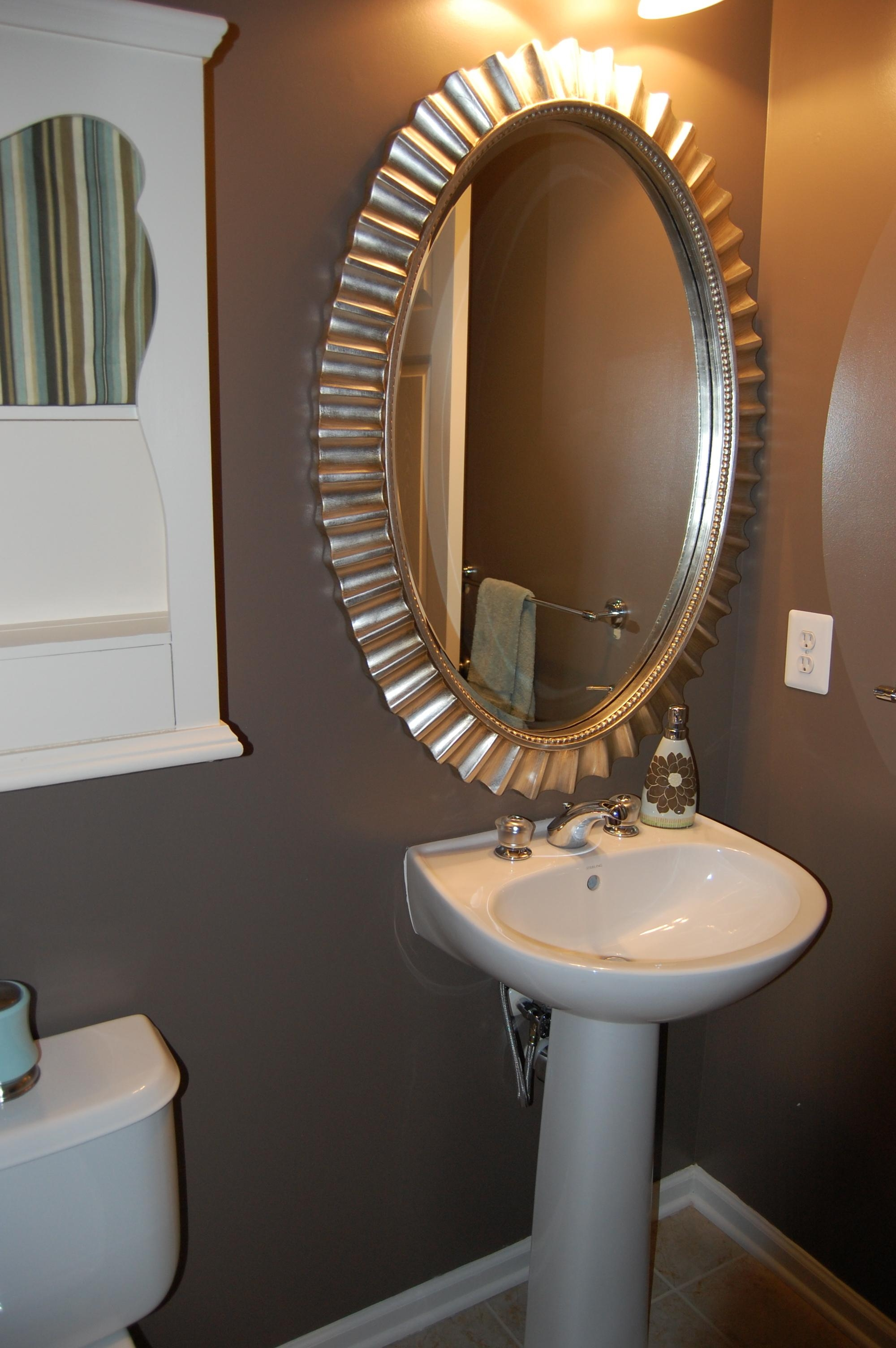 Bathroom: Classy Silver Wall Mounted Circle Mirror With White Throughout Small Silver Mirrors (Image 2 of 20)