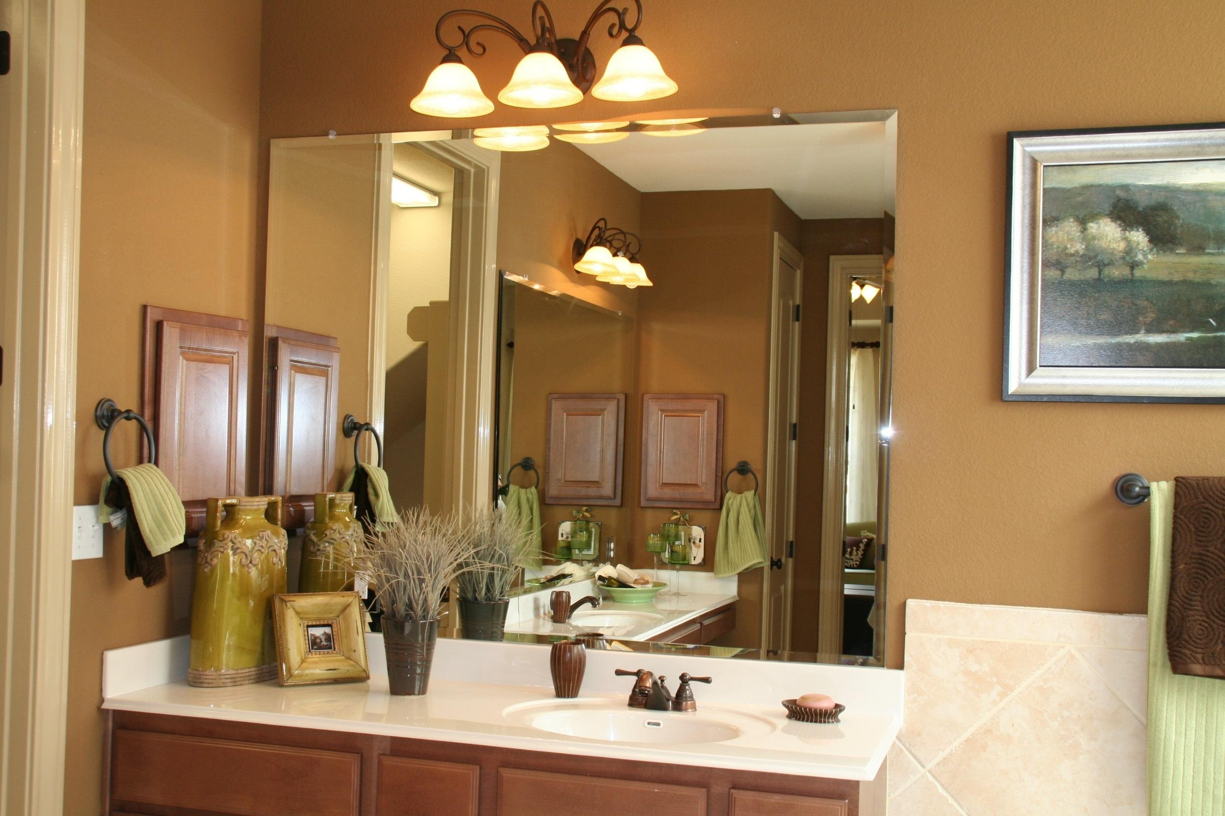 Bathroom: Frameless Beveled Glass Mirrors | Beveled Mirrors Pertaining To Wrought Iron Bathroom Mirrors (Image 7 of 20)