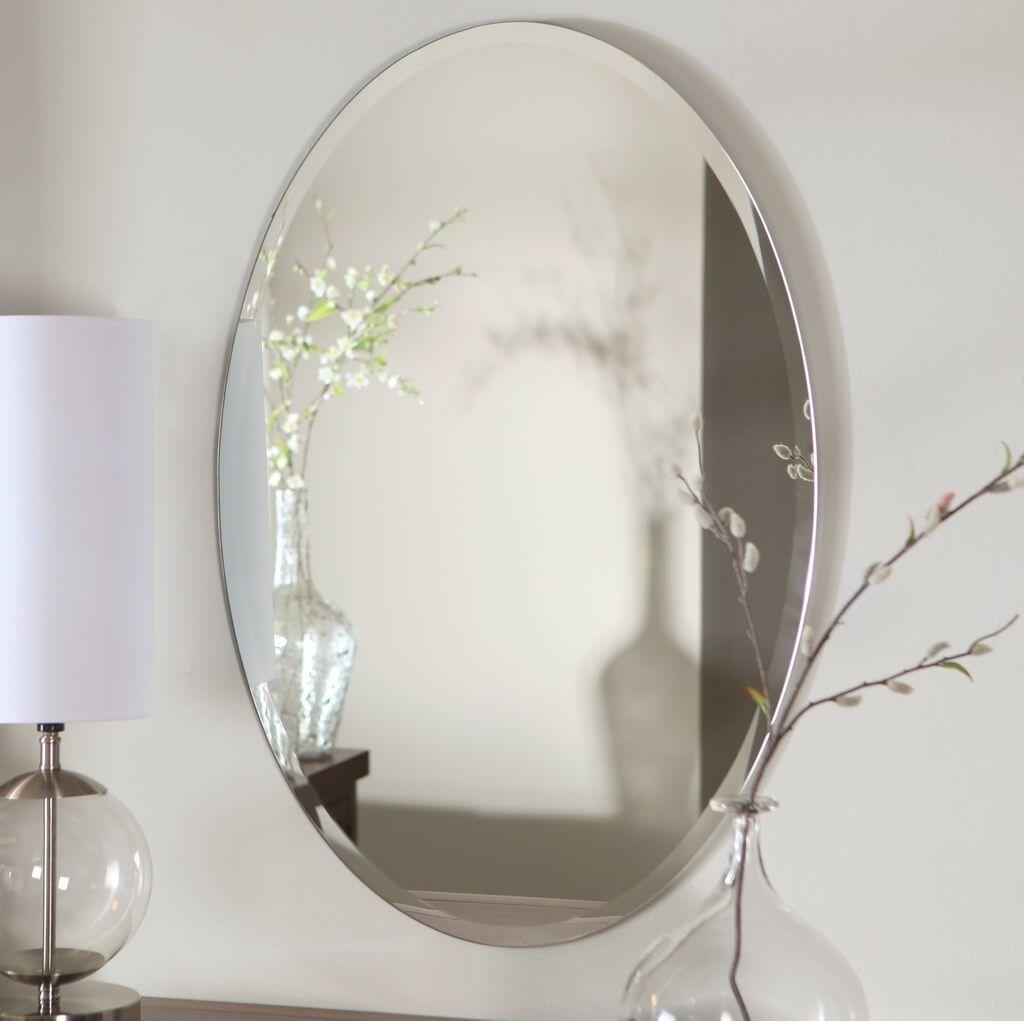 Bathroom: Frameless Beveled Oval Bathroom Mirror – Oval Bathroom Regarding Beveled Edge Oval Mirror (View 8 of 20)