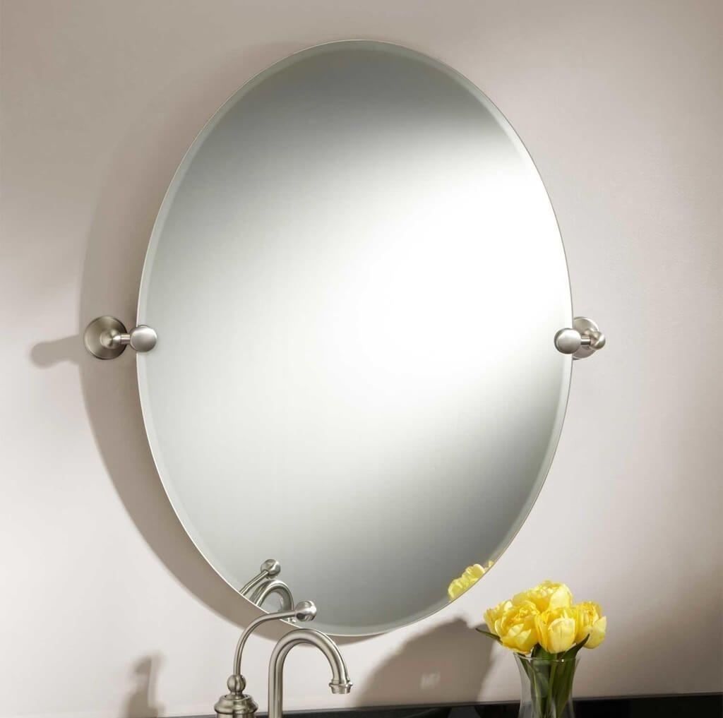 Bathroom: Frameless Beveled Oval Bathroom Mirror – Oval Bathroom Regarding Bevelled Oval Mirror (Image 2 of 20)