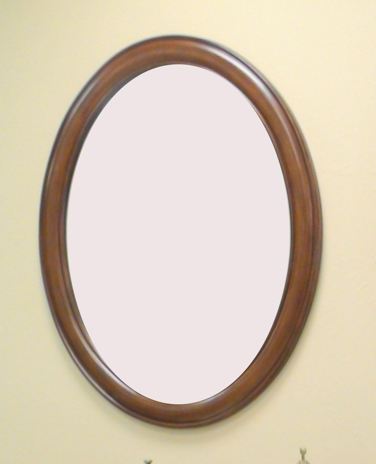 Bathroom Ideas: Wooden Oval Home Depot Bathroom Mirrors On Cream With Regard To Oval Cream Mirror (Image 2 of 20)