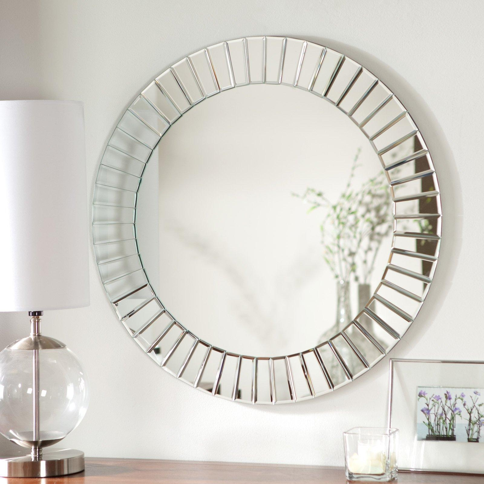Bathroom: Light Up Your Home With Frameless Beveled Mirror Pertaining To Frameless Arched Mirror (Image 10 of 20)
