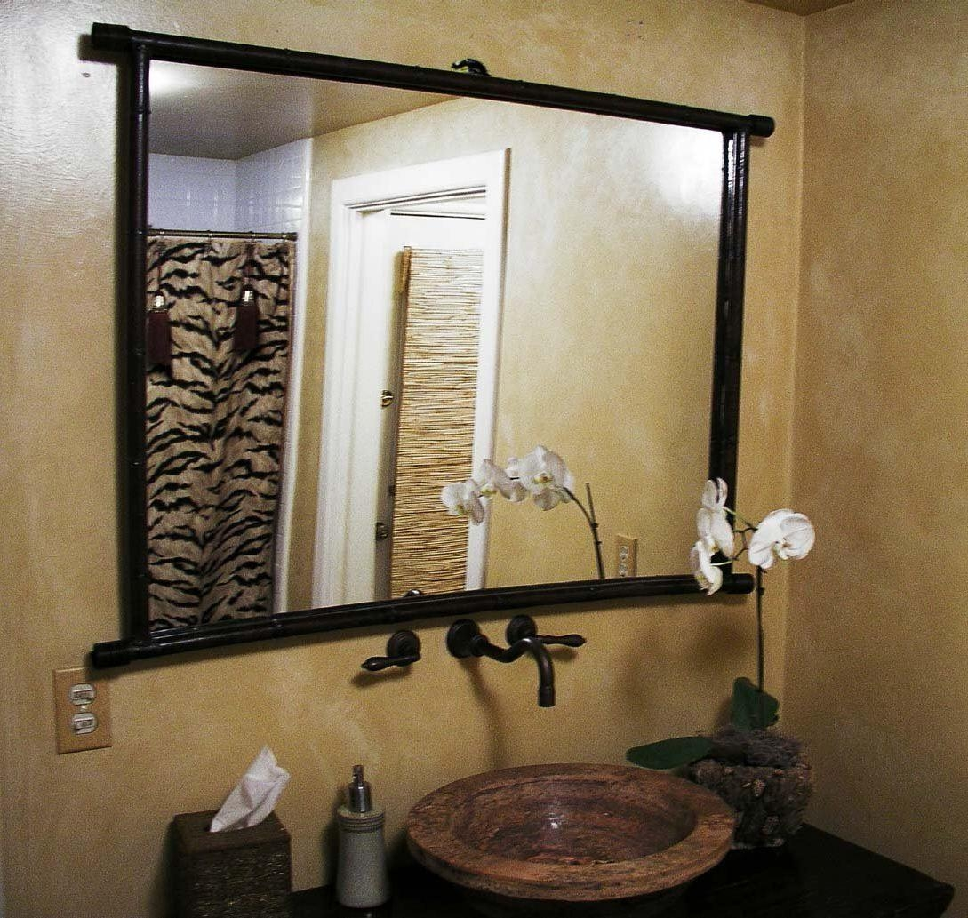 Bathroom Mirror Ideas On Wall Double L Shaped Brown Finish Throughout Triple Wall Mirror (Image 3 of 20)