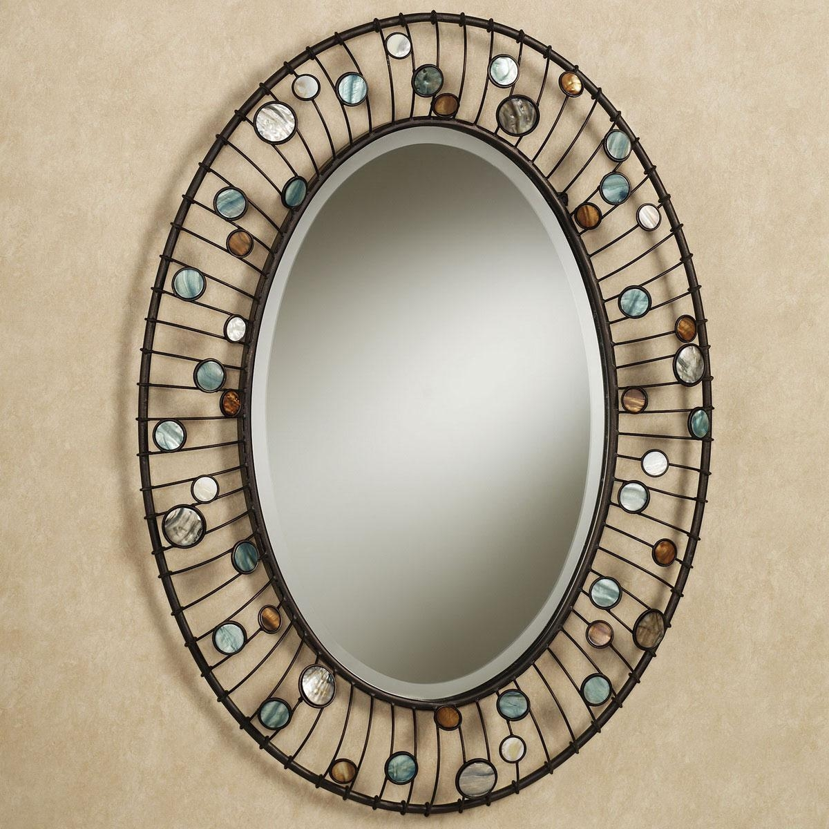 Bathroom: Mirrors For Bathrooms Ideas Hung On Cream Wall With Oval Pertaining To Oval Cream Mirror (Image 3 of 20)
