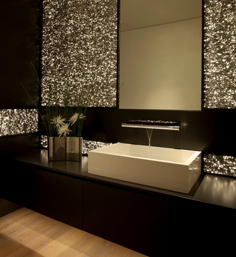 Bathroom : Modern Bathroom Decoration And Design Ideas With Dark With Glitter Wall Mirror (Image 3 of 20)