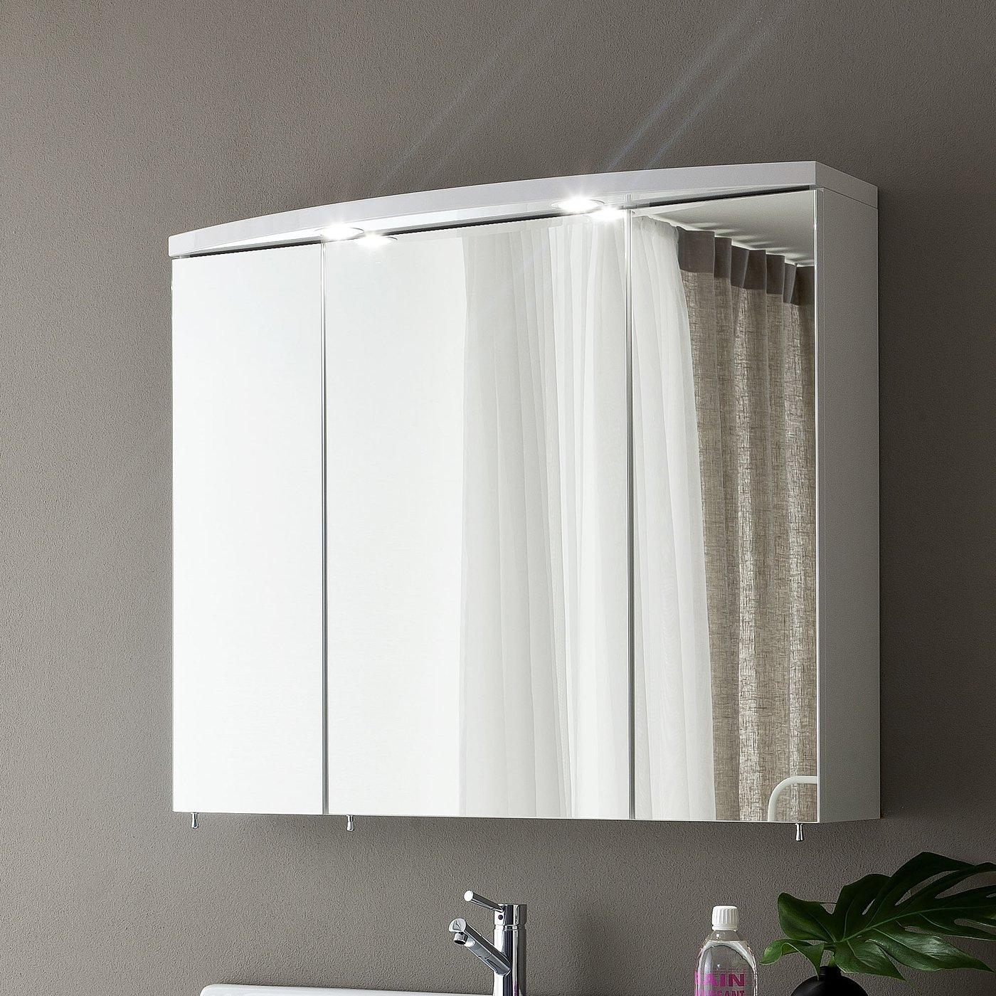 Bathroom: Triple Cabinet Mirror With Upper Lighting For Bathroom Pertaining To Triple Wall Mirror (Image 4 of 20)