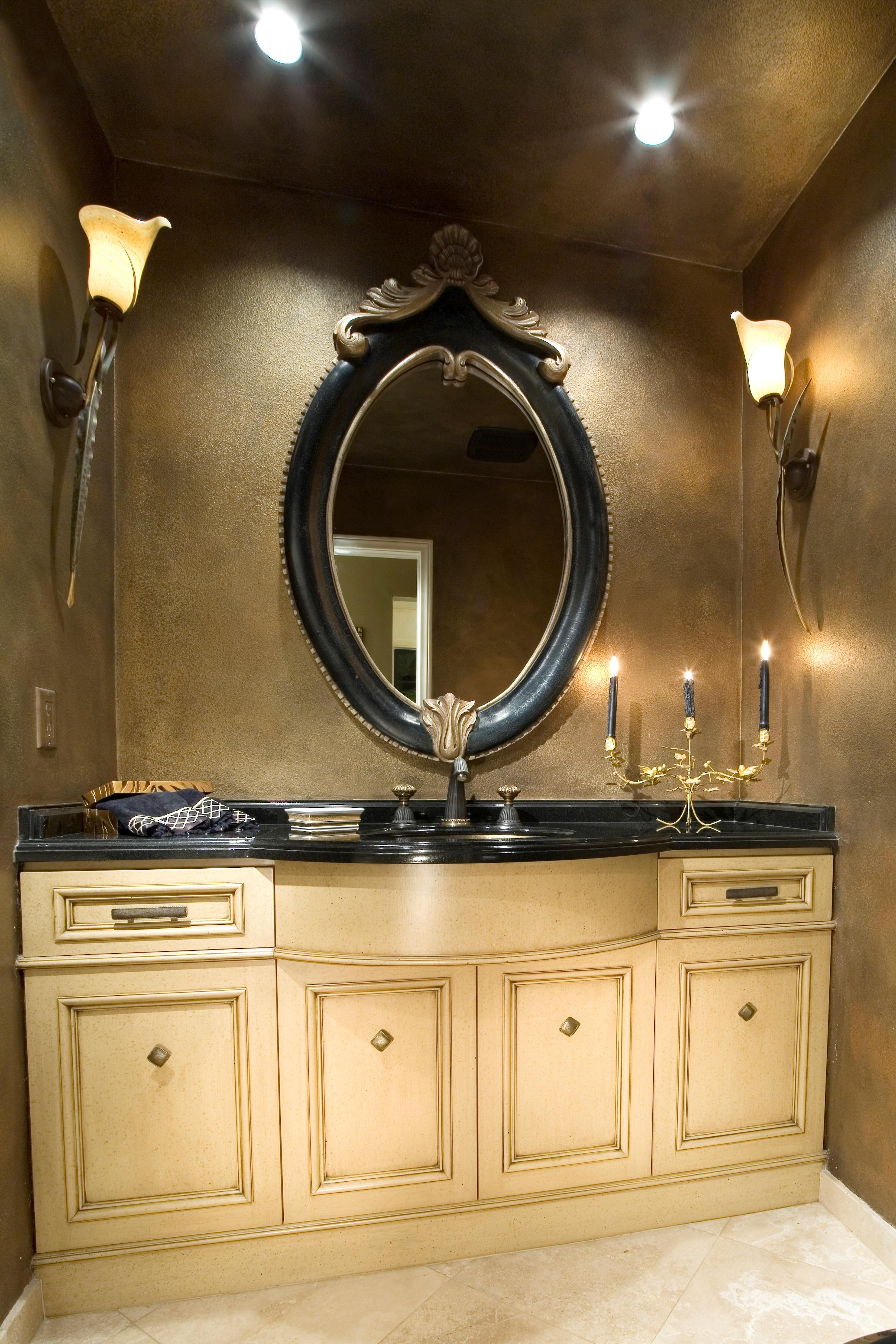 Bathroom: Wondrous White Pine Woods Vanities Bathroom With Double With Small Antique Mirrors (Image 2 of 20)