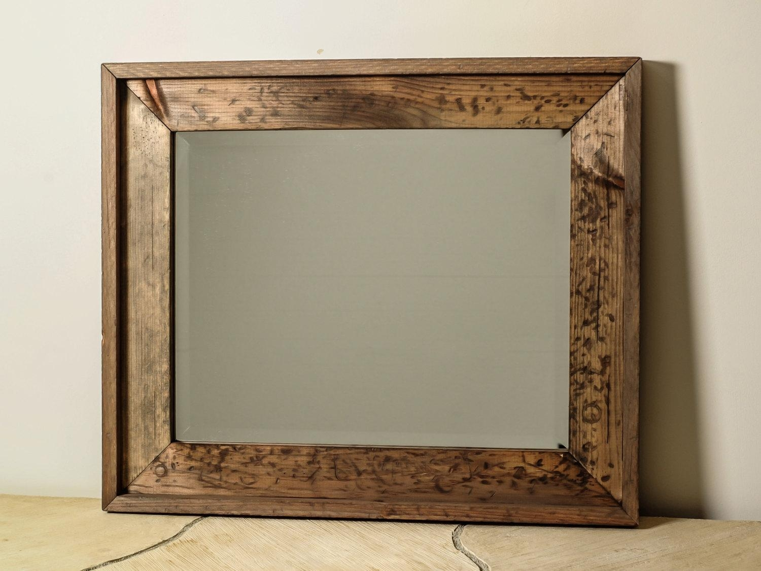 Bathroom: Wood Framed Mirrors | Large Framed Bathroom Mirrors Within Distressed Framed Mirror (Image 7 of 20)