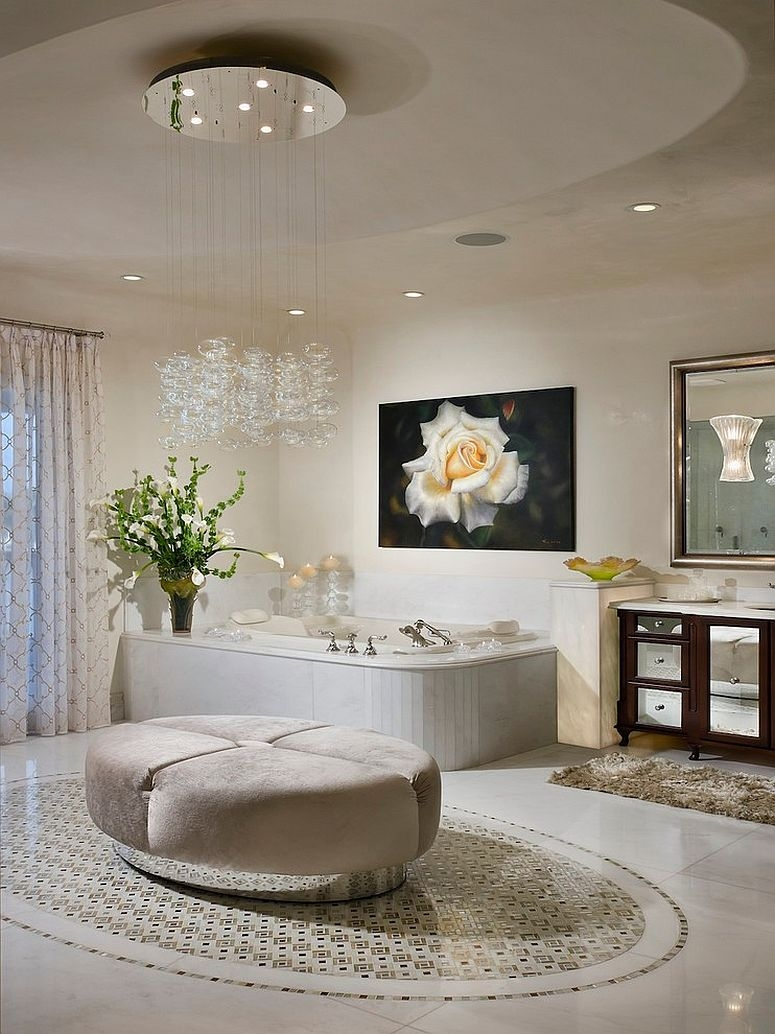 Bathrooms Bathroom Decor Idea With Small White Bathtub And Small In Bathroom Chandelier Lighting (Image 6 of 25)