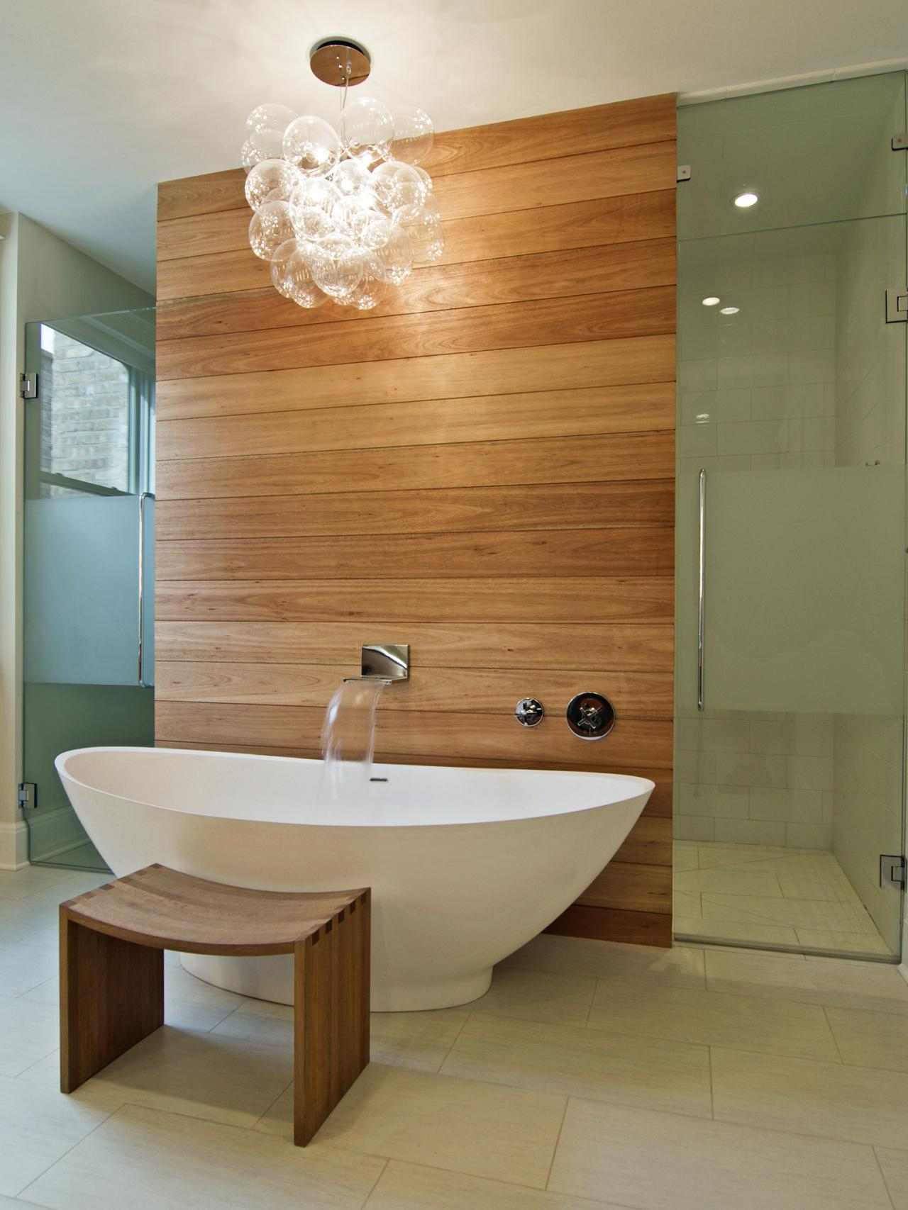 Bathrooms Modern Bathroom With Oval Modern Bathtub And Wooden Pertaining To Bathroom Safe Chandeliers (Image 13 of 24)