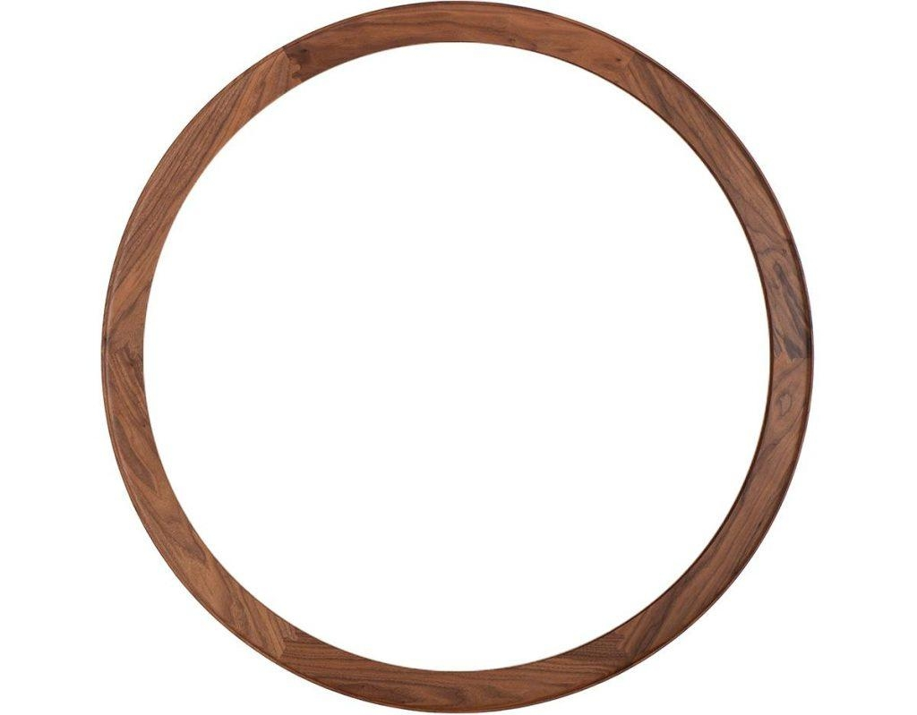 Bddw Round Mirror Lether And Wood Framelarge With Black Frame Pertaining To Large Round Black Mirror (Image 1 of 20)