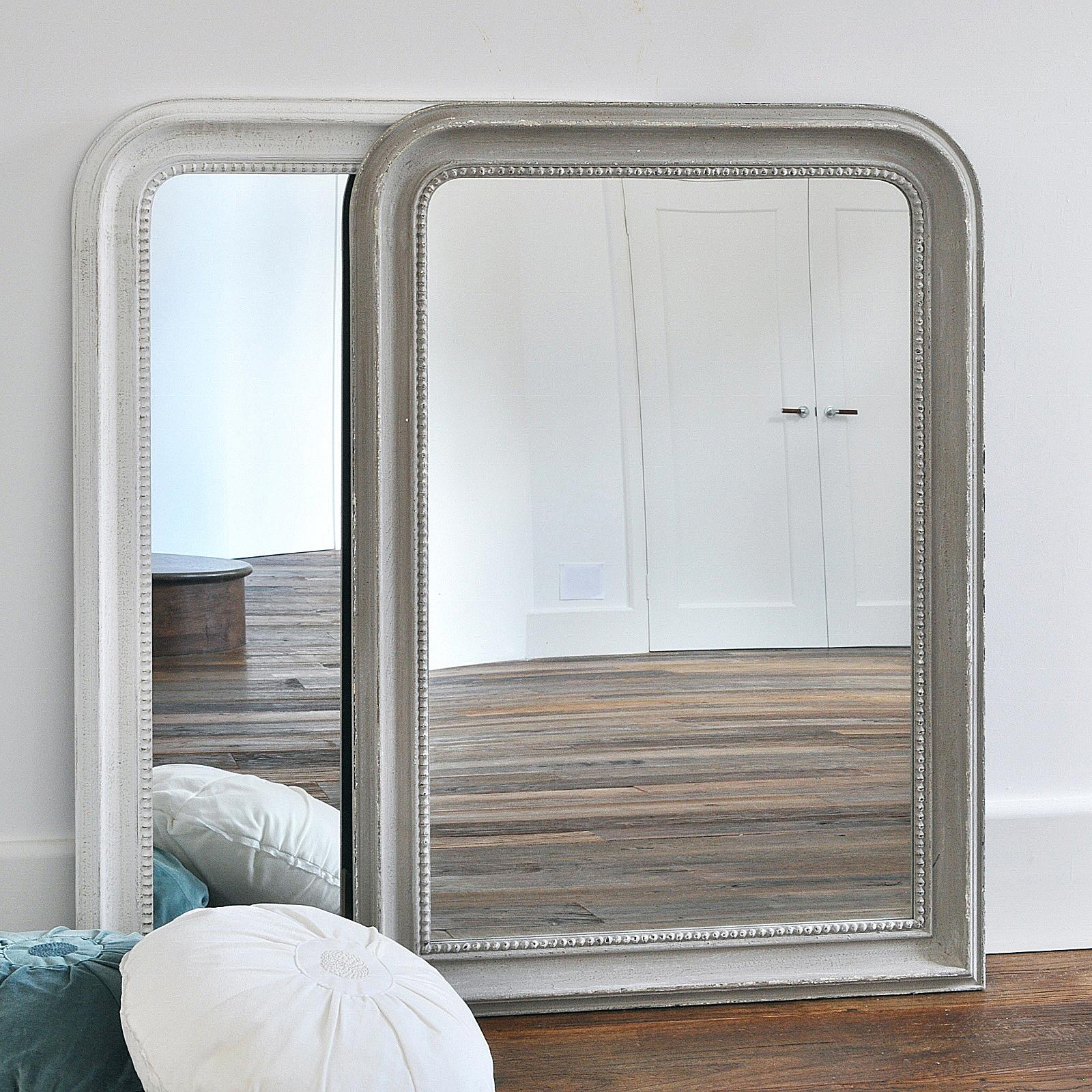 Beaded Wall Mirror – Grey & White – Primrose & Plum Intended For Curved Top Mirror (Image 9 of 20)