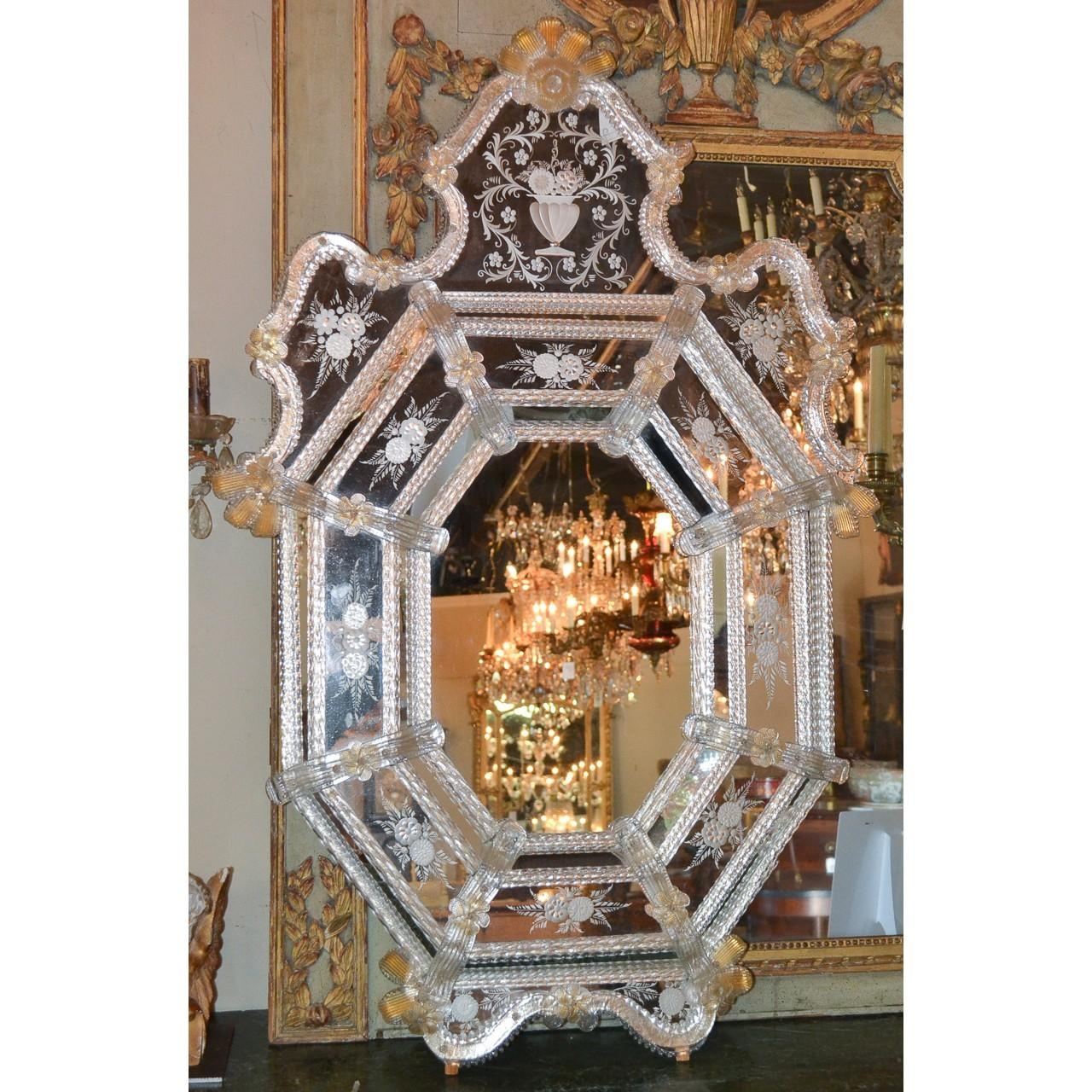 Beautiful Antique Venetian Etched Glass Mirror – Legacy Antiques Within Antique Venetian Glass Mirror (Image 8 of 20)