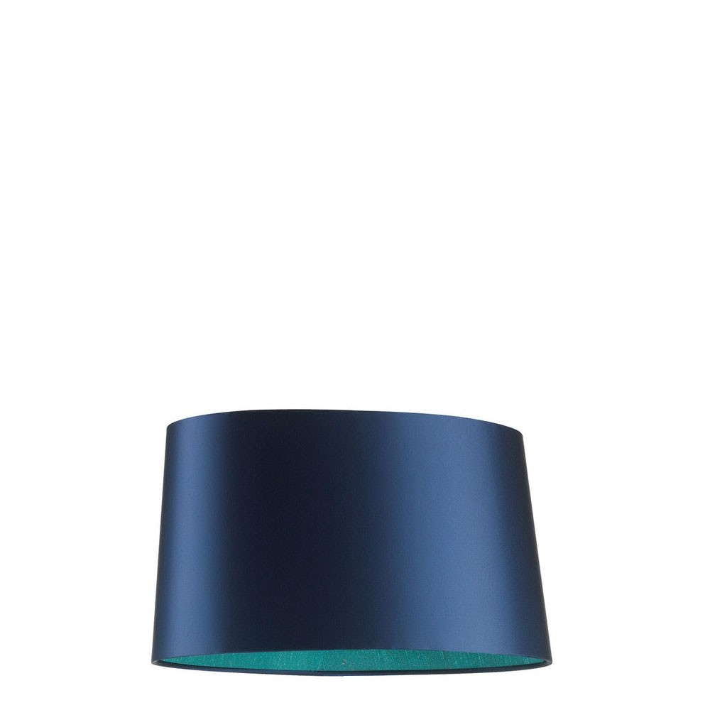 Beautiful Night Blue Satin Sloped Oval Lamp Shade With Contrasting Throughout Turquoise Chandelier Lamp Shades (Image 5 of 25)