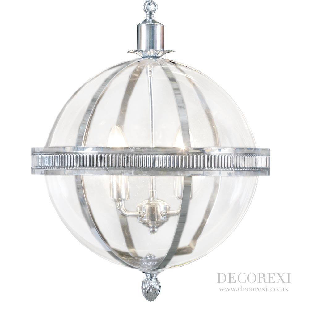 Beautiful Round Sphere Chandelier Chrome And Glass Beaded Globe Pertaining To Chrome And Glass Chandeliers (Image 3 of 25)