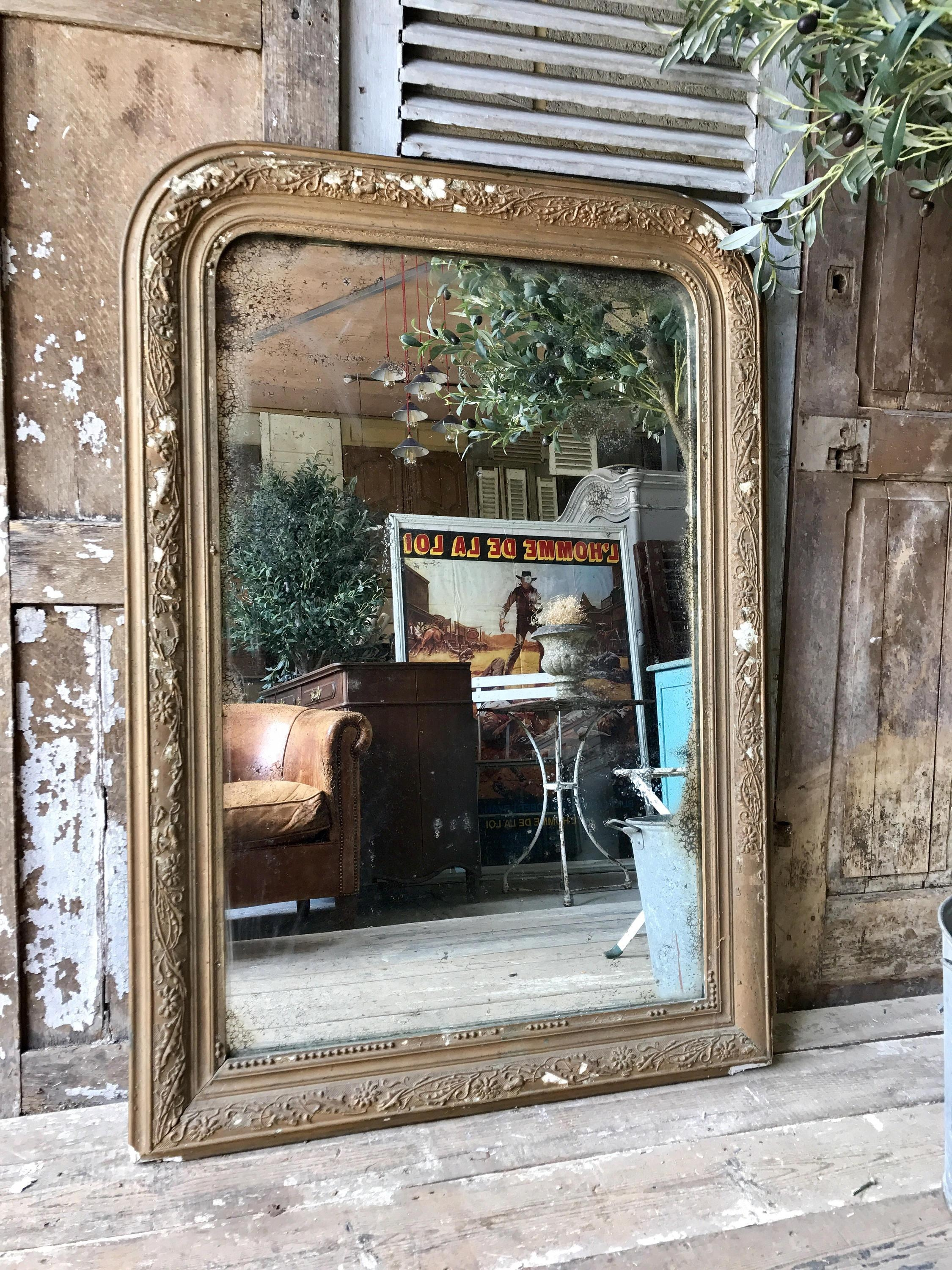 Beautiful, Rustic, Vintage French Overmantle Mirror | Vinterior In Vintage Overmantle Mirror (Image 6 of 20)