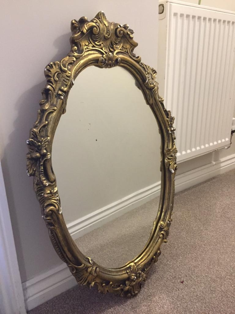 Beautiful Vintage Rococo Mirror Carved Plaster & Wood Oval Inside Gold Rococo Mirror (Image 8 of 20)