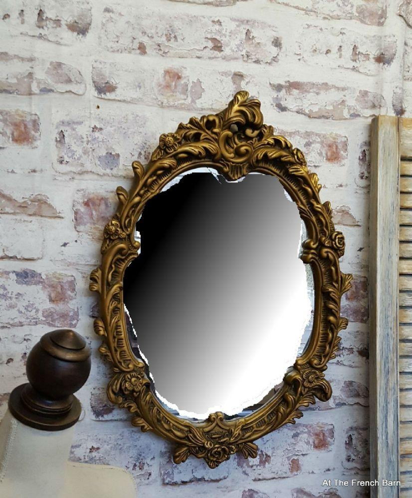 Beautiful Vintage Rococo Mirror Carved Plaster & Wood Oval Inside Gold Rococo Mirror (Image 7 of 20)