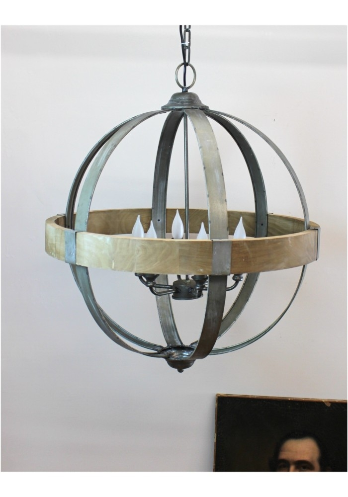 Beautiful Wood And Metal Chandelier Small Wood Chandelier With Metal Ball Chandeliers (Image 3 of 25)
