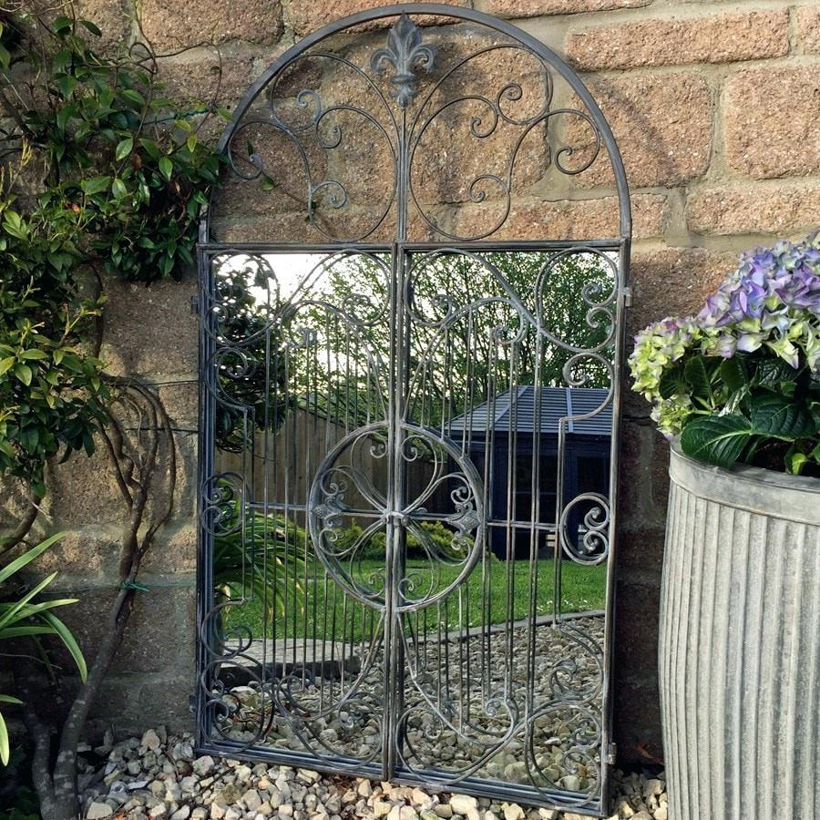 Beautiful Wrought Iron Perspective Outdoor Reflective Garden With Regard To Large Garden Mirrors (Image 6 of 20)