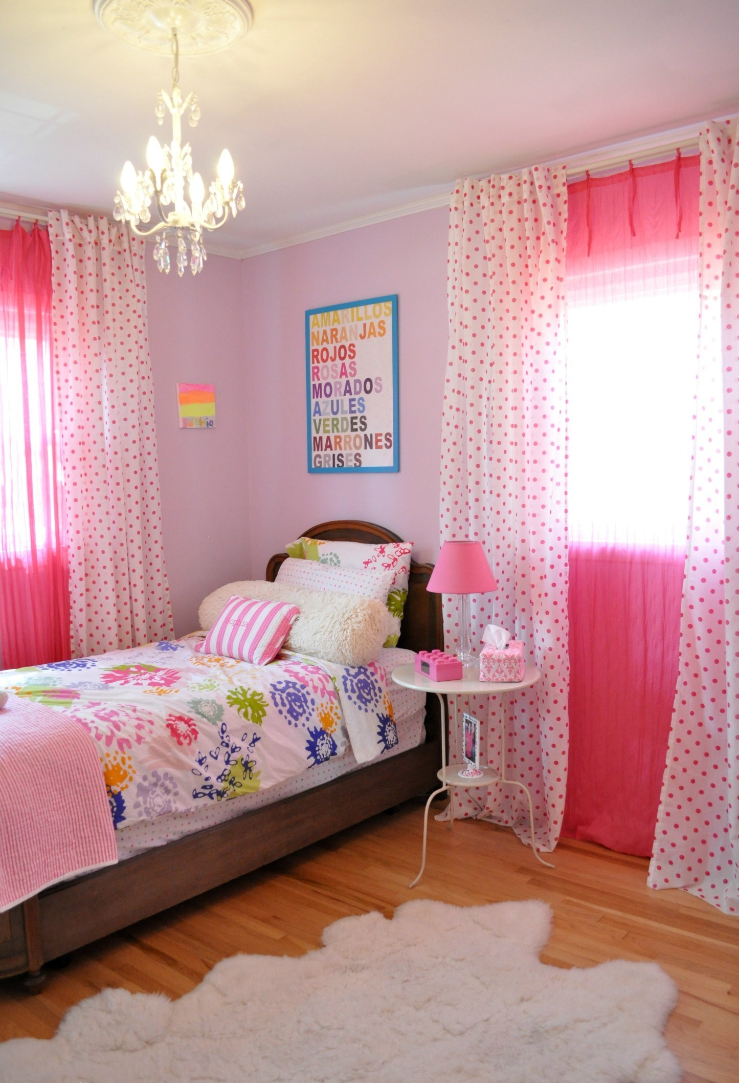 Bedroom Cute Girls Bedroom Decorating Ideas With Fresh Colors With Small Chandelier Table Lamps (View 24 of 25)