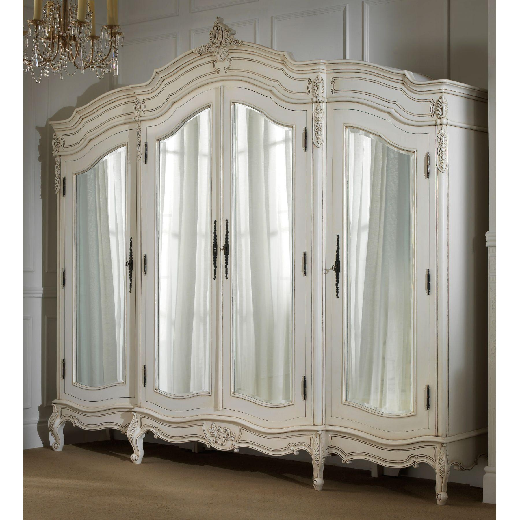 Bedroom: Elegant White Brusali Wardrobe With Drawers And Hanging With White Antique Mirrors (Image 9 of 20)