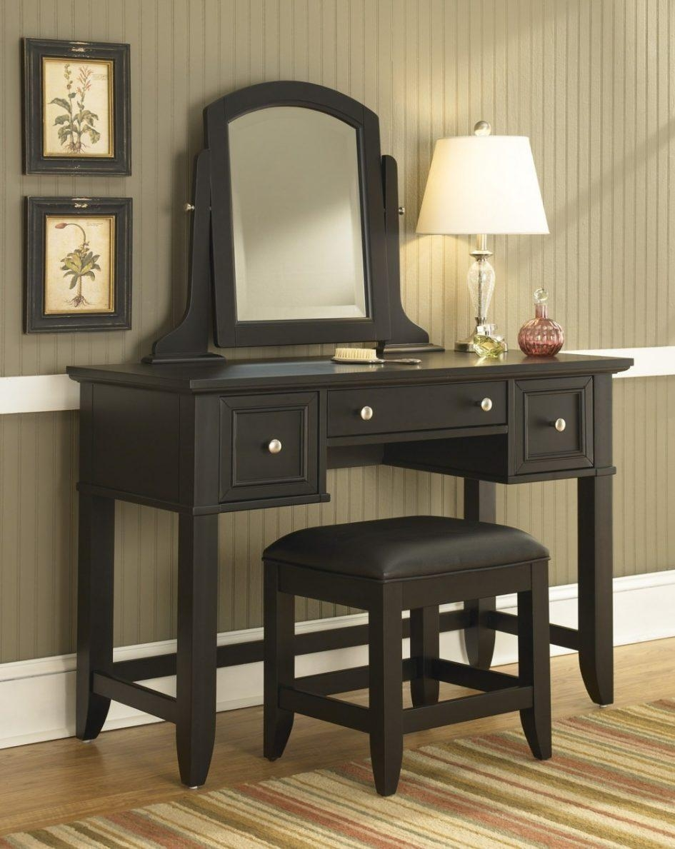 Bedroom Furniture : Black Modern Wooden Dressing Table Vanity Pertaining To Black Dressing Mirror (Image 1 of 20)