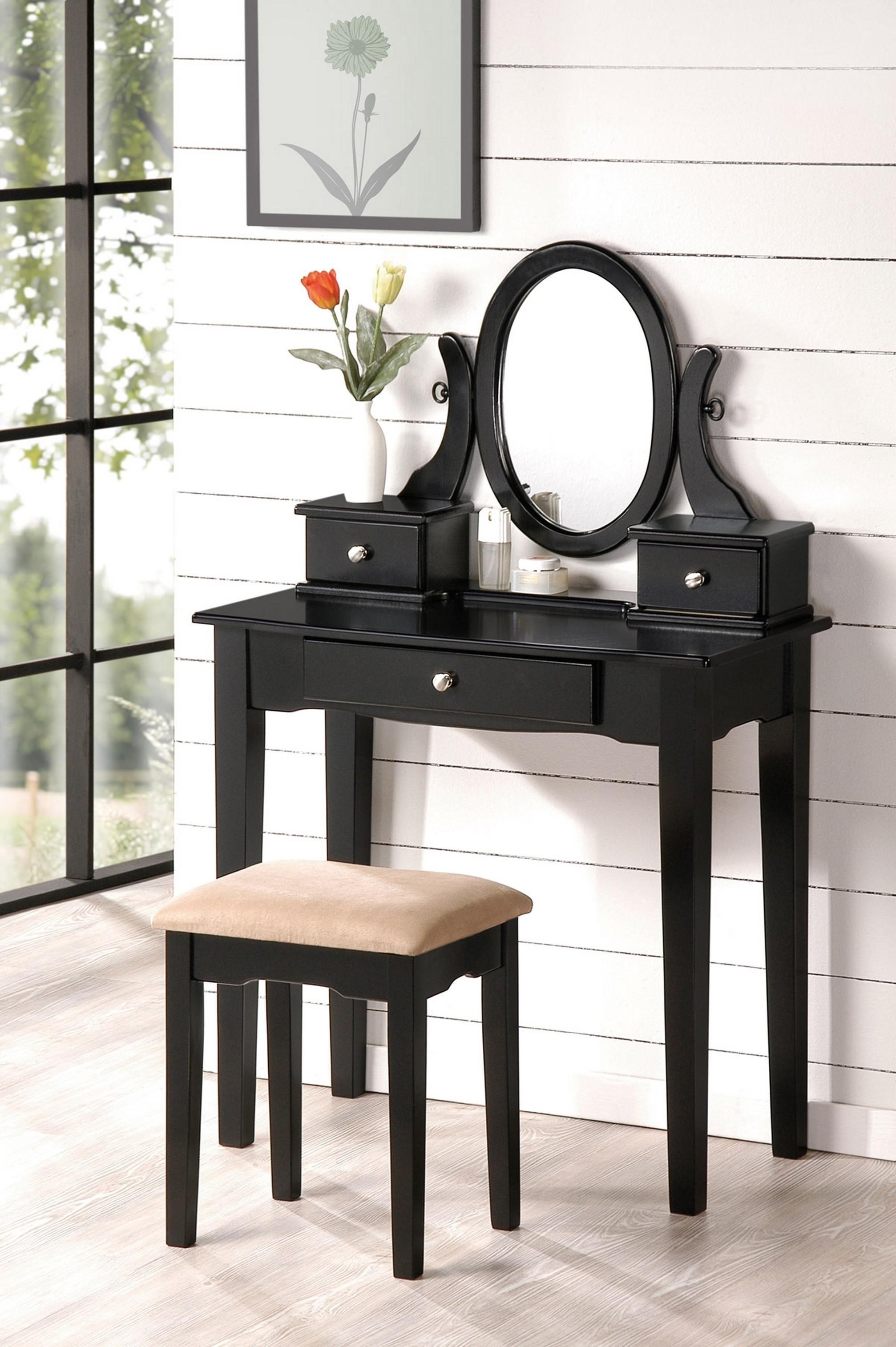 Bedroom Furniture Sets : Dressing Table Black Vanity Desk With Intended For Black Dressing Mirror (Image 5 of 20)